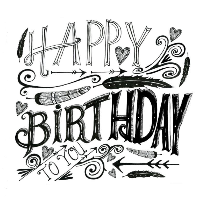 Happy Birthday tekst zwart 1