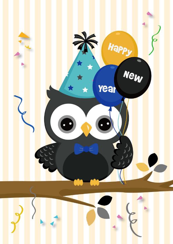Happy New Year met feest-uil 1