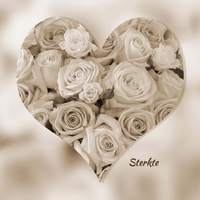 Hartvorm met rozen in sepia kleur 1
