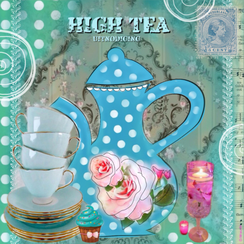 High Tea party stippen blauw 1