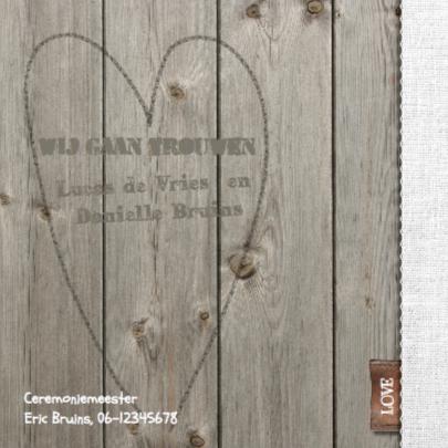 Hippe foto trouwkaart hout 2
