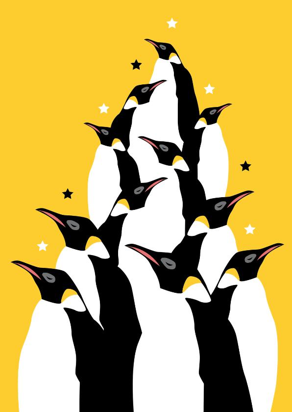 Hippe pinguin kerstkaart 1