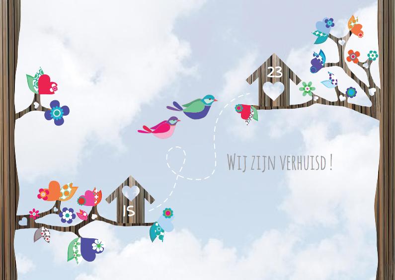Hippe verhuiskaart  vogels lucht 1