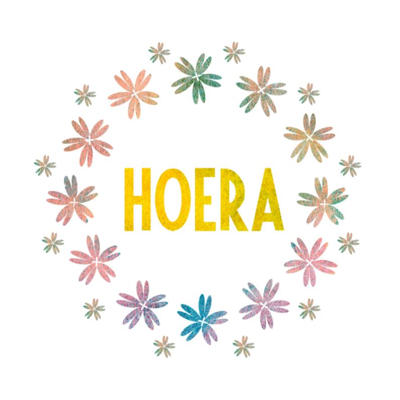 Hoera Felicitatiekaart bloemen 1