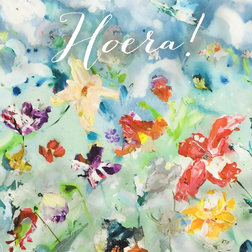 Hoera print kunst bloemenveld 1