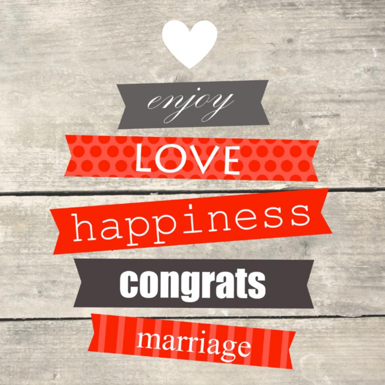 Houtprint met tekst, huwelijk 1