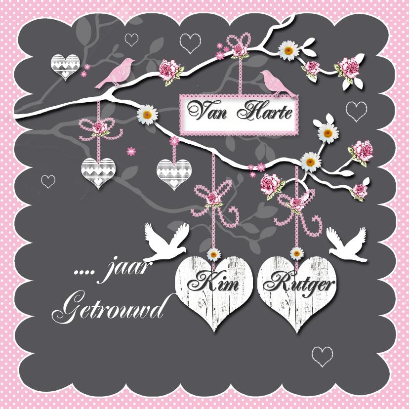 huwelijksjubileum takje met harten 1