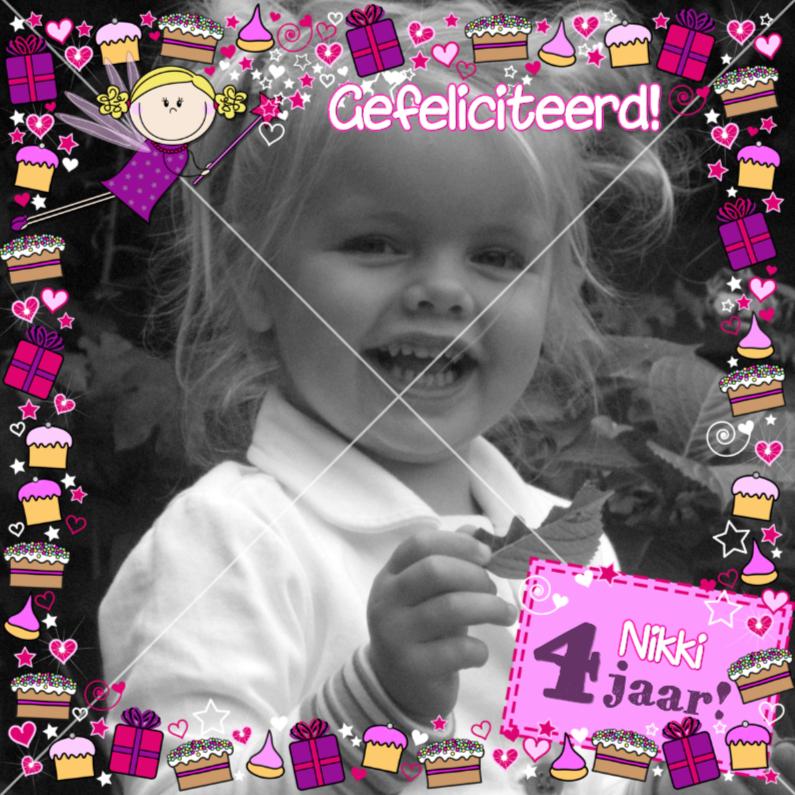 Jarig FEEtje FOTOkaart taartjes 1