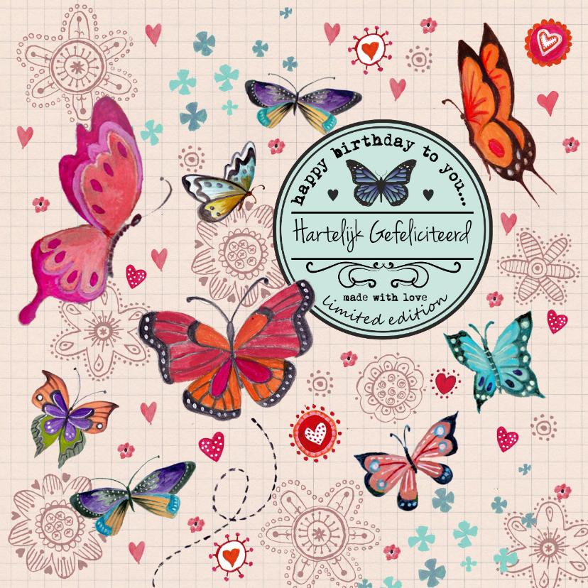 Jarig Meisje Bloemen Vlinder Label Beige 1