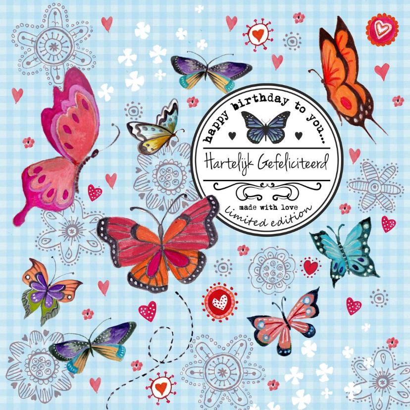 Jarig Meisje Bloemen Vlinder Label Blauw 1