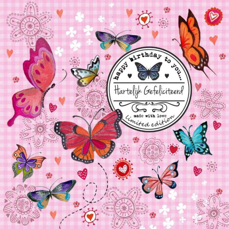 Jarig Meisje Bloemen Vlinder Label Roze 1