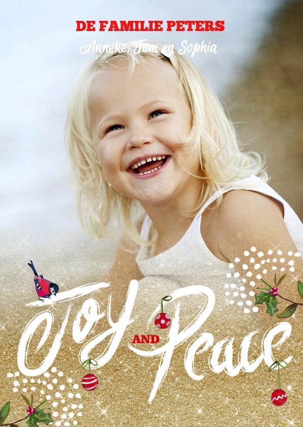Joy and Peace kerstkaart Goud  1