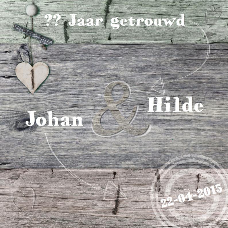 Jubileum 3 kleuren hout met hart 1