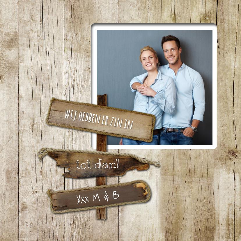 Jubileumkaart huwelijk hout - SG 2