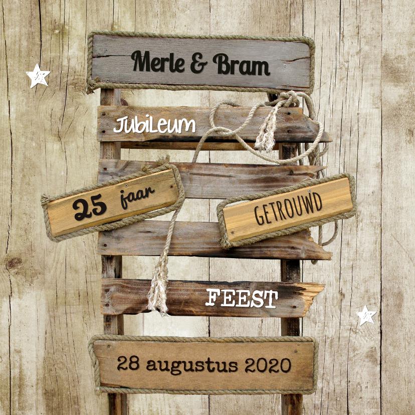 Jubileumkaart huwelijk hout - SG 1
