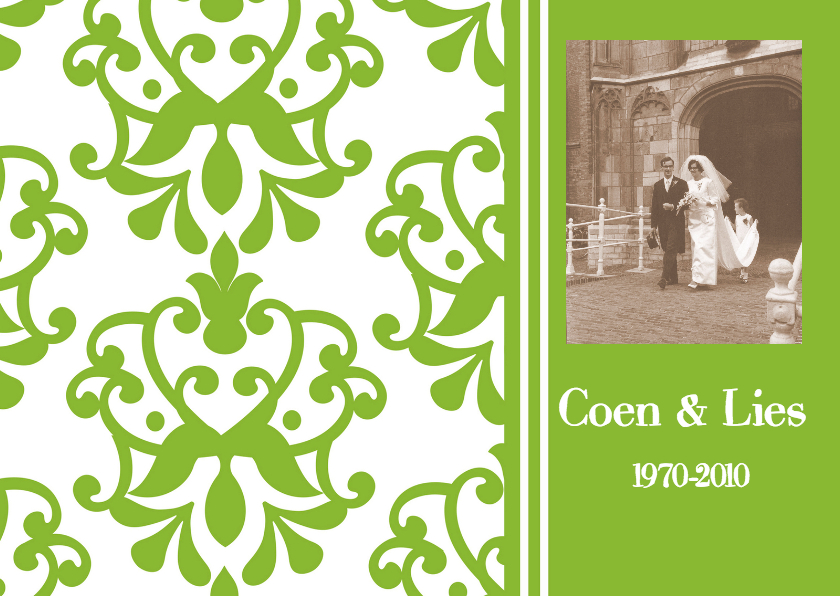 Jubileumkaart met foto groen 1