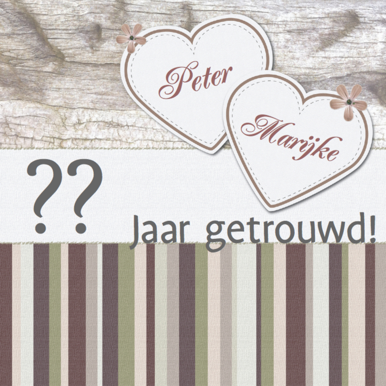 Jubileumkaart met hartjes Earth colors 1