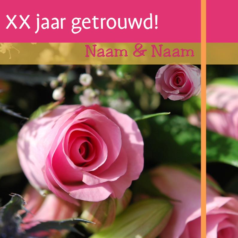 Jubileumkaart met roze rozen x jaar 1