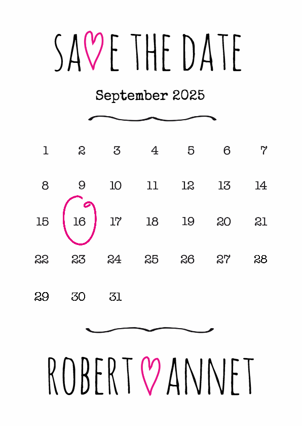Kalender Save the Date wit- BK 1