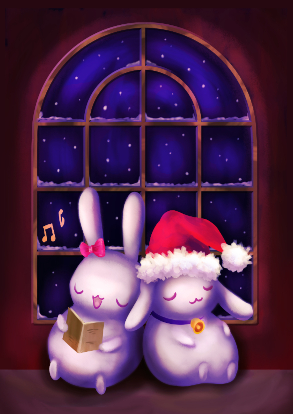 Kerst - Chubby bunnies bij raam 1