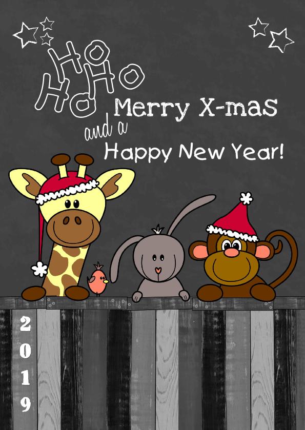Kerst dieren krijtbord S 1
