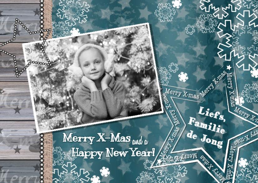 Kerst foto ster hout blauw groen 1