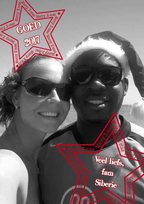 Kerst foto ster rood stempel S-H 1