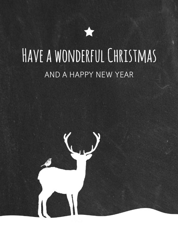 Kerst - Hert in sneeuw krijtbord 1