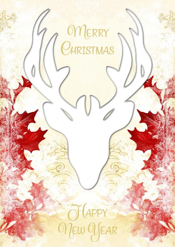 Kerst hert met rode hulst 2 - SG 1