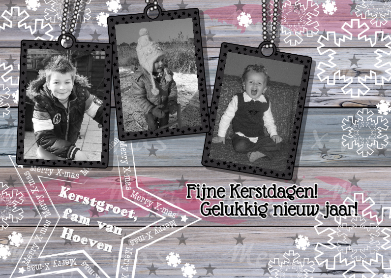 Kerst hout ster sneeuw 3 foto'sL 1