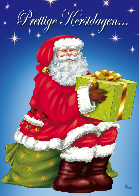 kerst kerstman 2 kerstman met cadeau 1