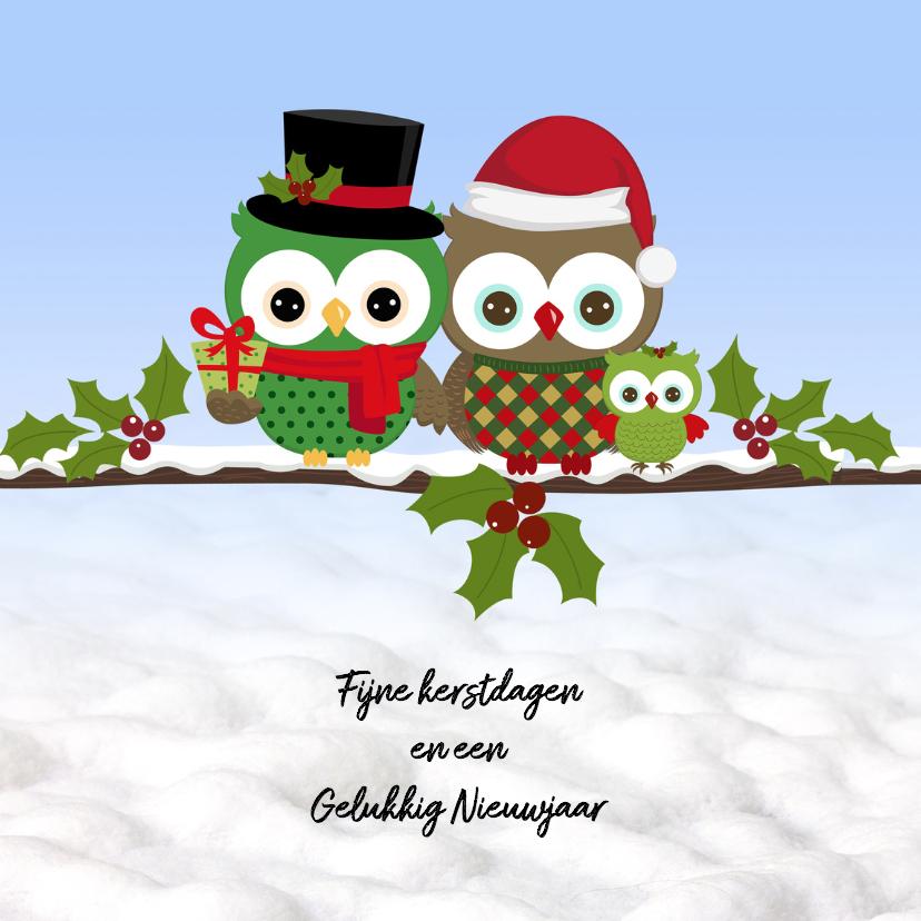 Kerst met uilen in de sneeuw 1