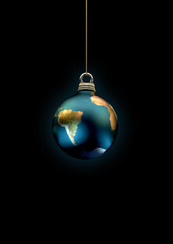 Kerstkaart Aarde als kerstbal 1