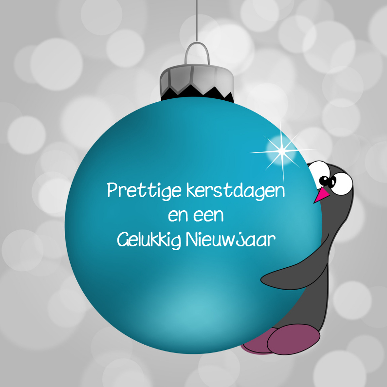 Kerstkaart bal met pinguin 1