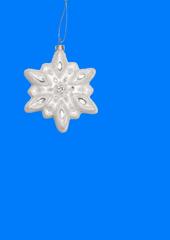 Kerstkaart eigen foto blauw OT 2