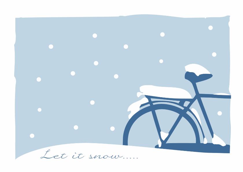 Kerstkaart fiets in de sneeuw 1