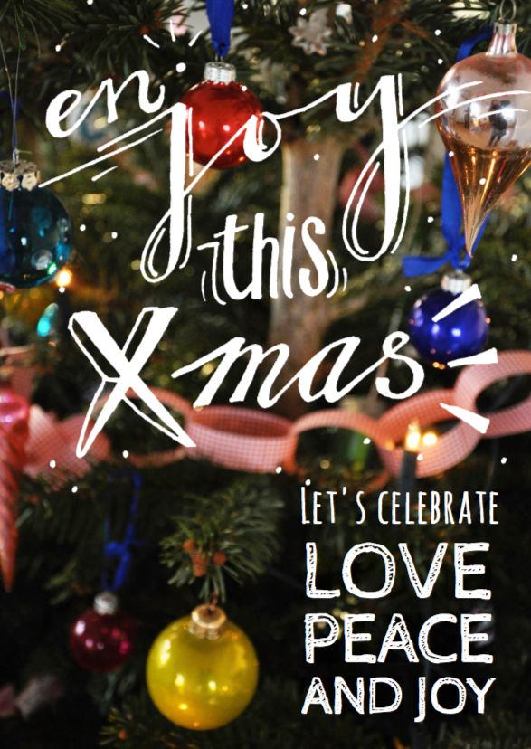 Kerstkaart handlettering joy 1