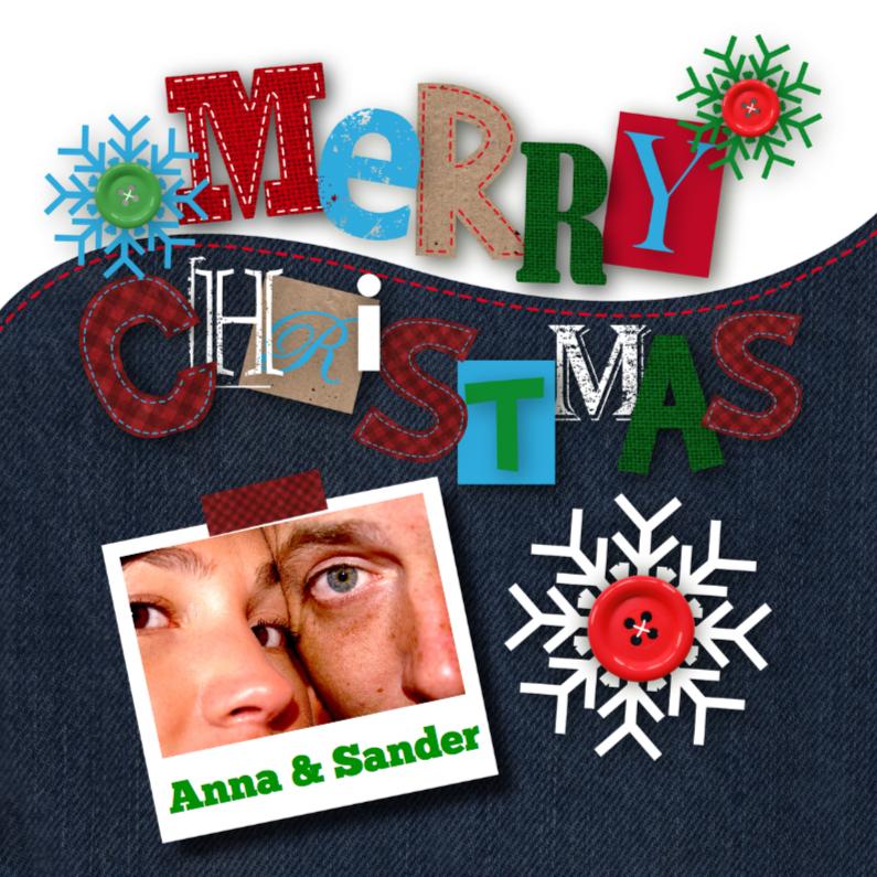 Kerstkaart happy letters foto 1