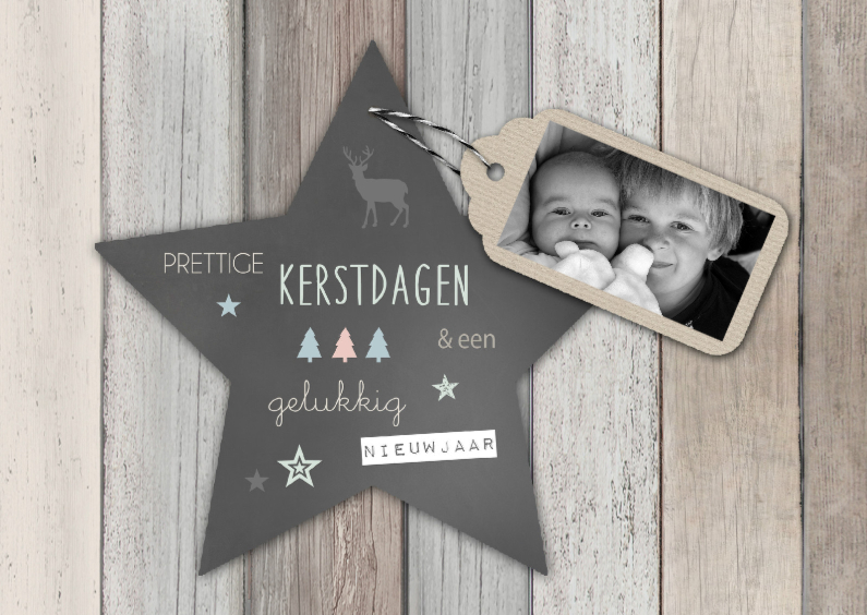 Kerstkaart hout label ster - BC 1