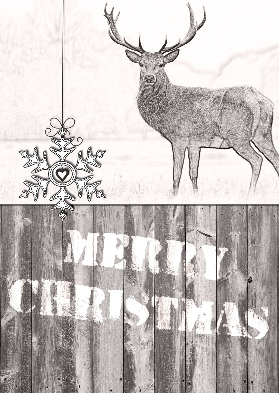 Kerstkaart Illustratie Hert - JD 1