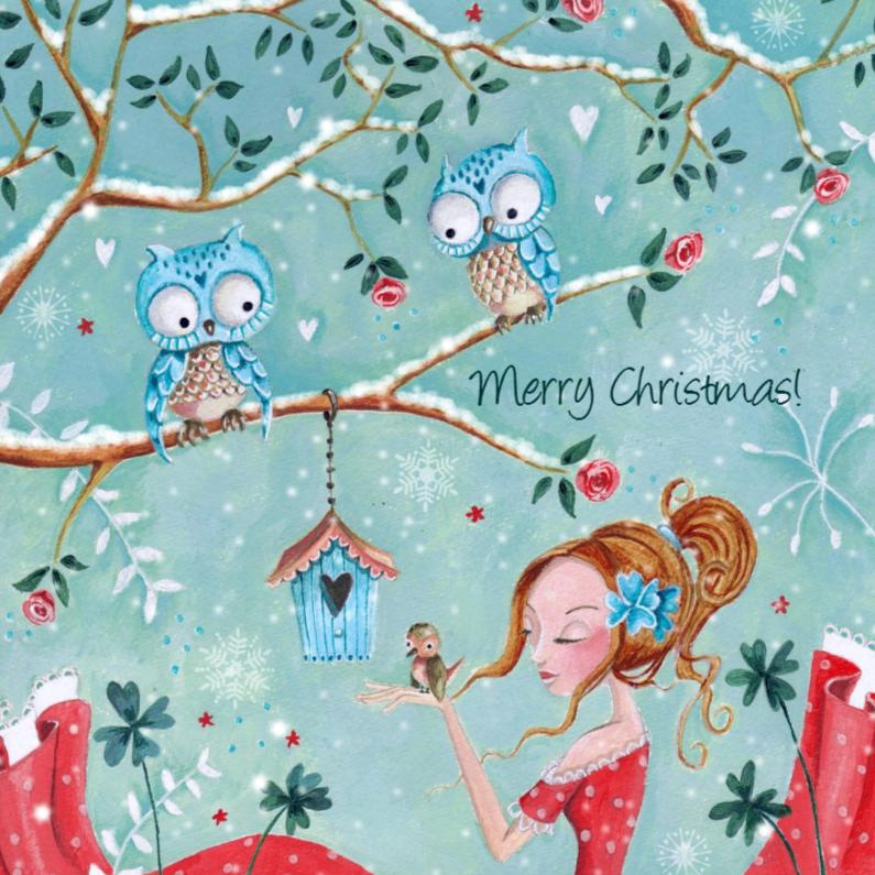 Kerstkaart Illustratie Uiltjes Sneeuw 1