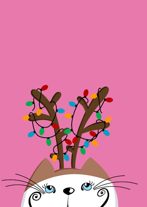 Kerstkaart Kat met gewei 2