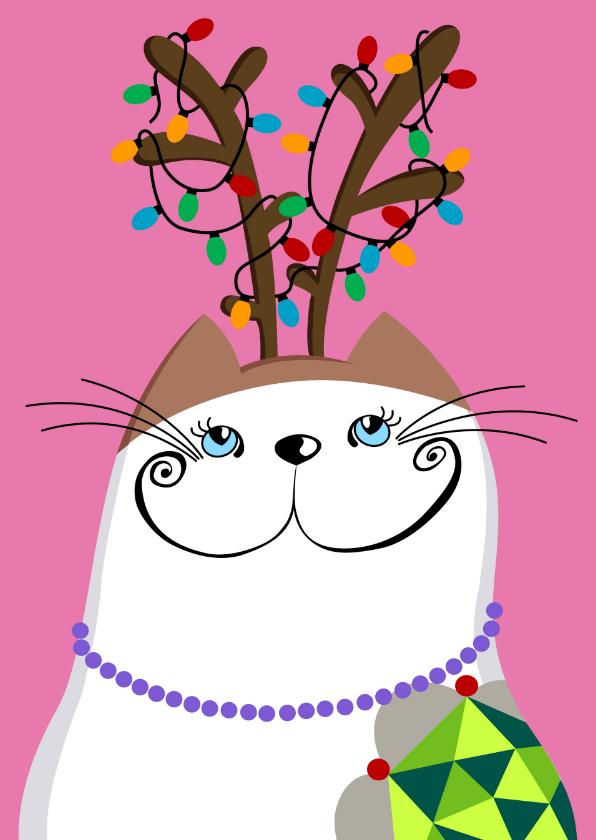 Kerstkaart Kat met gewei 1