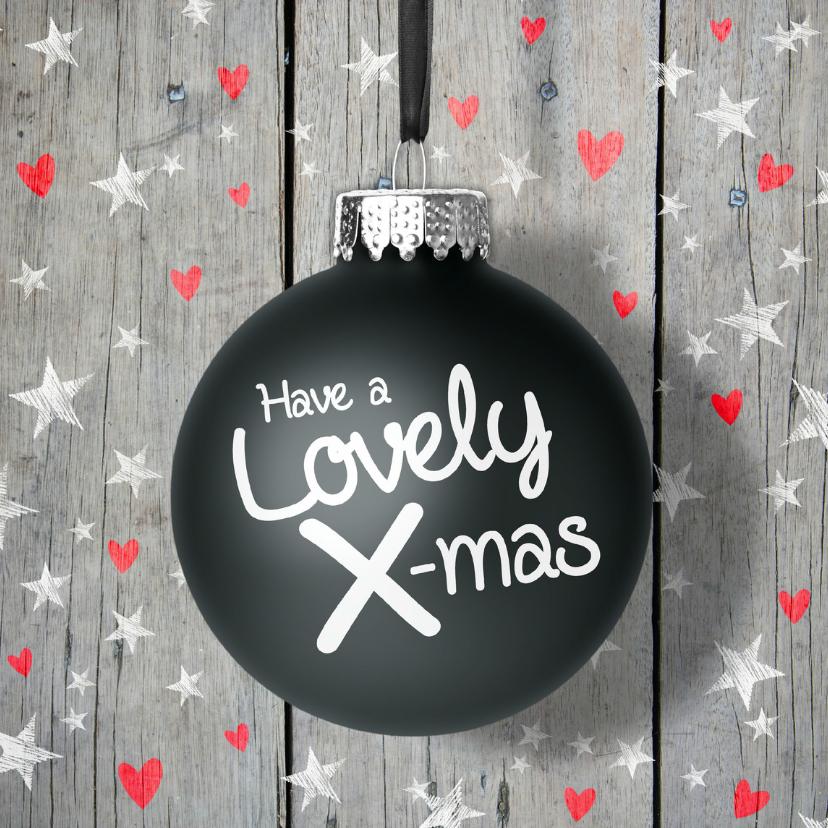 Kerstkaart kerstbal ster en hart 1