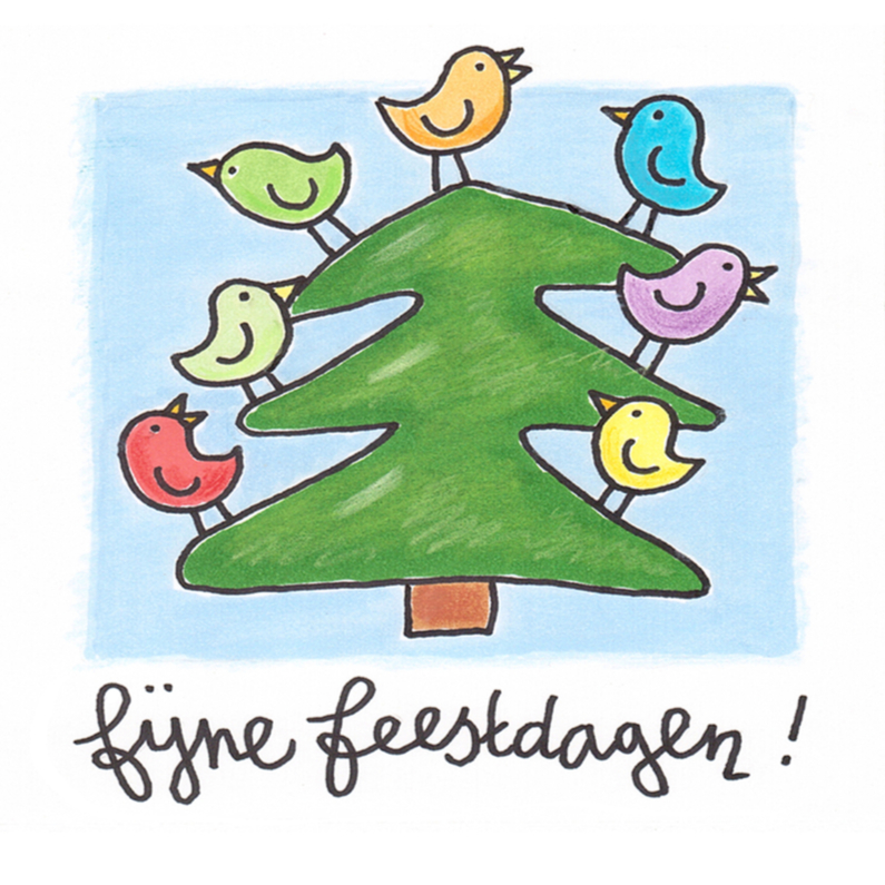 Kerstkaart kerstboom met vogels 1