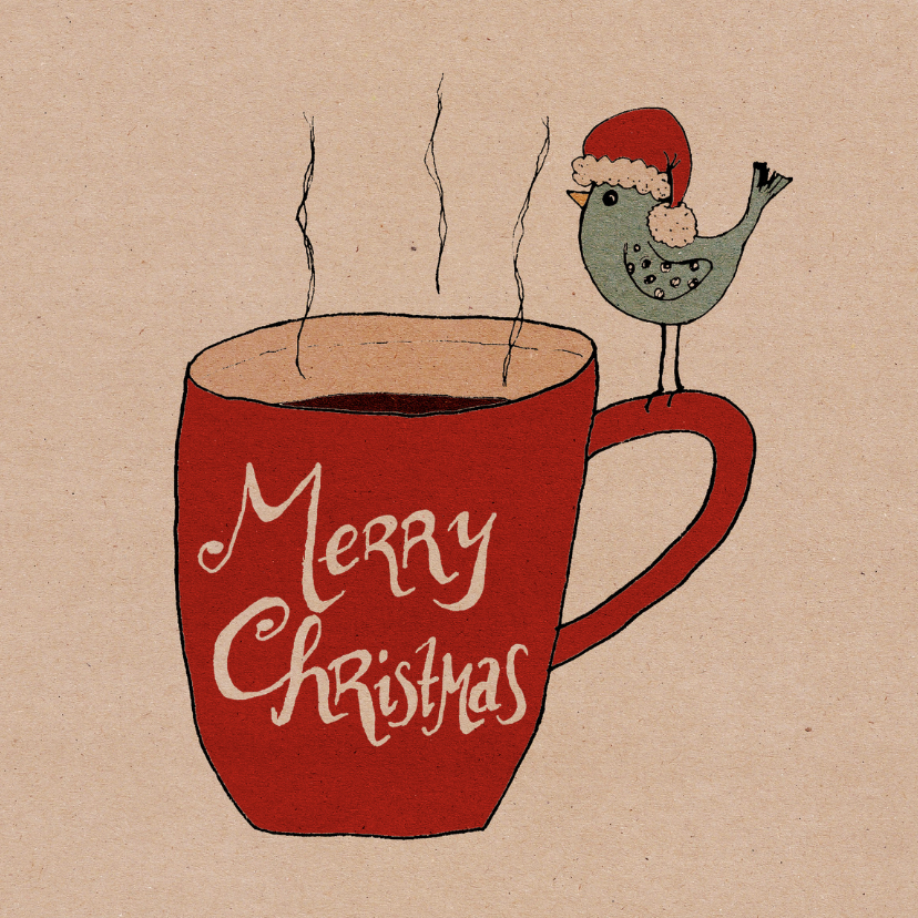 Kerstkaart koffiemok vogel-HR 1