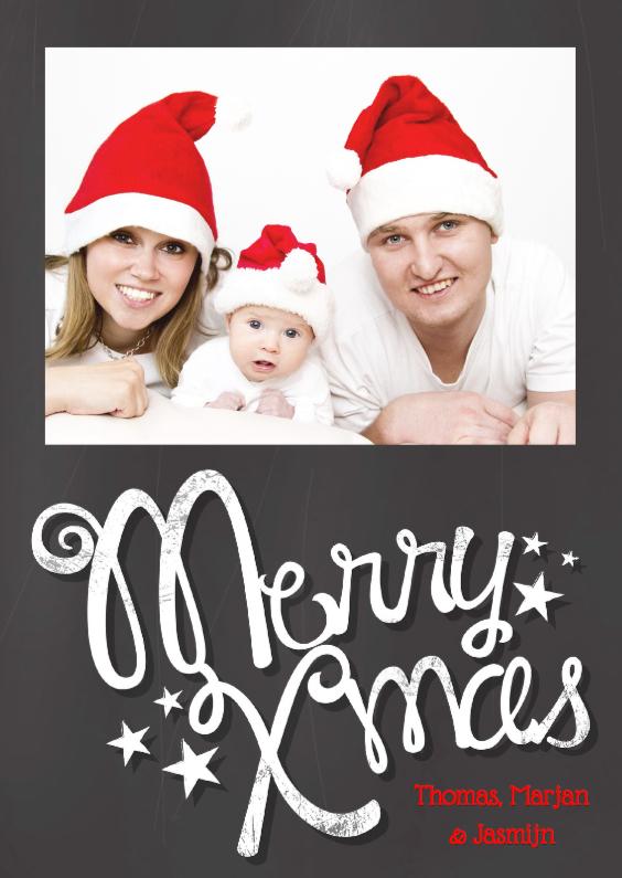 Kerstkaart krijtbordprint foto 1
