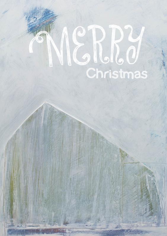 Kerstkaart kunst winter huis 1