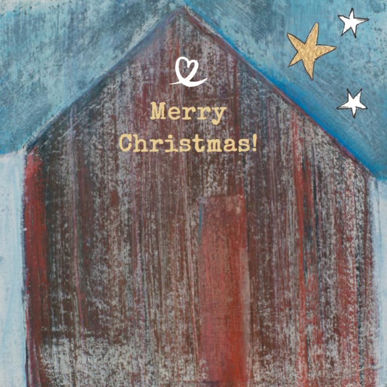 Kerstkaart kunstkaart kerststal 1
