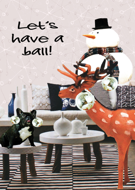 Kerstkaart Lets have a ball 1
